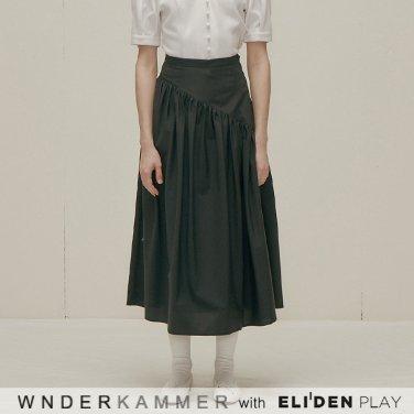 [분더캄머:WNDERKAMMER] Shirring Long Skirt_Black (WK9F9-SLSK020)