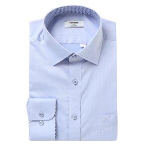 블루 트윌 솔리드 카라배색 일반핏 셔츠RKSSG4001BUIL