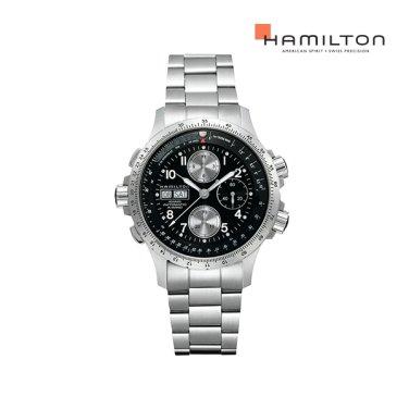 H77616133 카키 엑스윈드 블랙 메탈 남성 시계