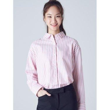 여성 핑크 볼드 스트라이프 코튼 셔츠 (328864CY1X)