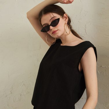 Abell Cotton Crop Blouse _ Black