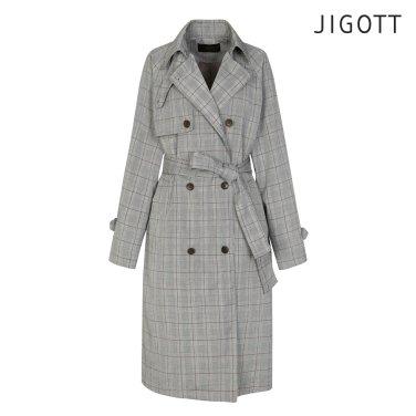 체크패턴 더블 트렌치 코트 JI3E0TC02