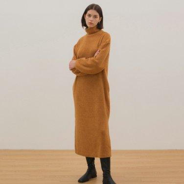 Turtleneck Knit Dress - Mustard