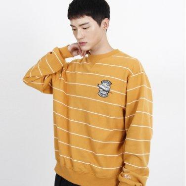 (UNISEX)Striped feather Logo Sweatshirt (YELLOW)