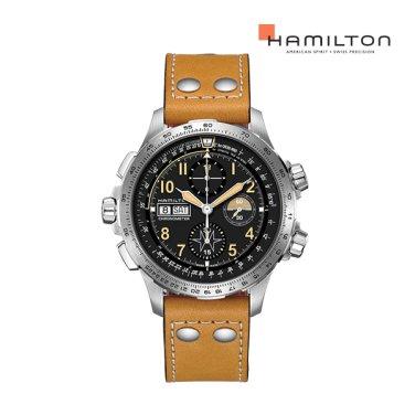 [리미티드] H77796535 카키 엑스윈드 오토 크로노 45mm 브라운 가죽 남성 시계
