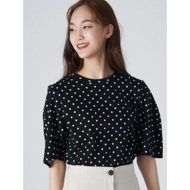 여성 블랙 코튼 도트 퍼프 소매 티셔츠 (329742LYI5)
