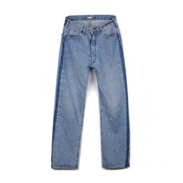 KAPTAIN SUNSHINE Baggy Cut Straight Denim Pants Indigo Long Wash