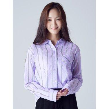 여성 바이올렛 스트라이프 원 포켓 셔츠 (128764YB1S)