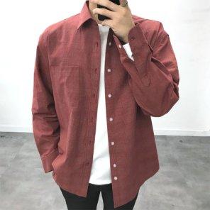 남성 오버핏 잔체크 코튼 원포켓 셔츠_SH0154