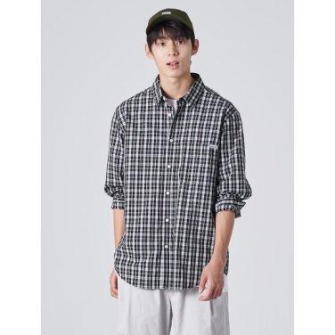 남성 블랙 베이직 타탄 체크 포켓 셔츠 (269764EY25)