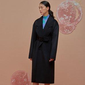Double Pocket Oversize Coat-Black