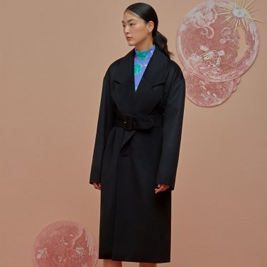 Double Pocket Oversize Coat-Black