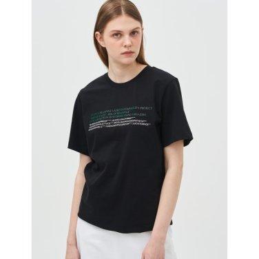 [Online Exclusive] 블랙 레터링 루즈핏 반소매 티셔츠 (BF9342N045)