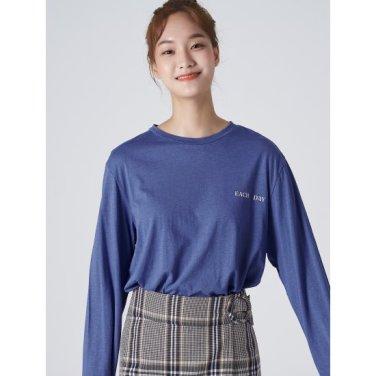 여성 블루 베이직 포인트 백 프린팅 티셔츠 (329841LYAP)