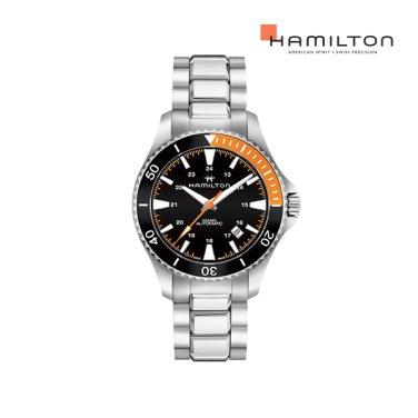 H82305131 카키 스쿠버 오토 40mm 오렌지-블랙 메탈 남성 시계