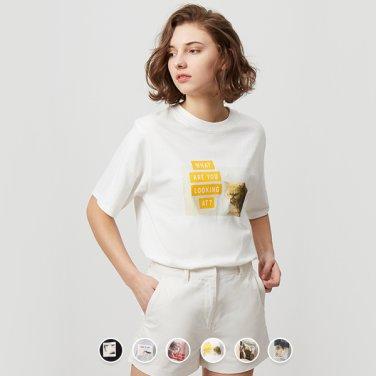 여 오버핏 그래픽 반팔 티셔츠(Cat photo) 399502
