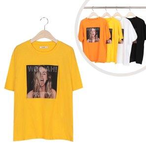 라운드 프리티 프린팅 반팔 티셔츠 (ALEWT071)