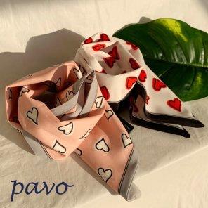 실크감촉 트윌리스카프 선물용 스카프 온하트 핑크