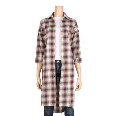 투 포켓 체크 언밸런스 롱 셔츠 (BJ9BL003J)
