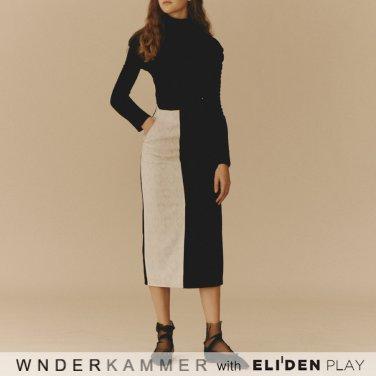 [분더캄머:WNDERKAMMER] Coloration Jacquard Skirt_Black (WK9F0-CJSK040)