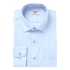 블루 사틴 솔리드 카라패치 스냅버튼 일반핏 셔츠RKSSG4002BUIL