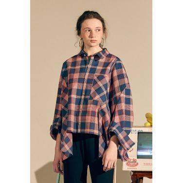 [테이즈] Curve Arm Deck Shirt_Blue/Red Check