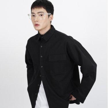 (UNISEX)Over Classic Pocket Shirt(BLACK)