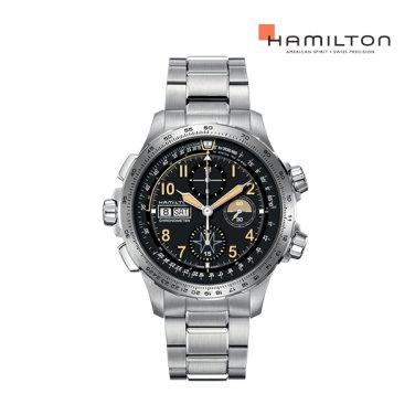 [리미티드] H77796135 카키 엑스윈드 오토 크로노 45mm 메탈 남성 시계