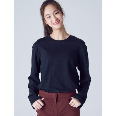 여성 블랙 언밸런스 베이직 티셔츠 (358841CY15)