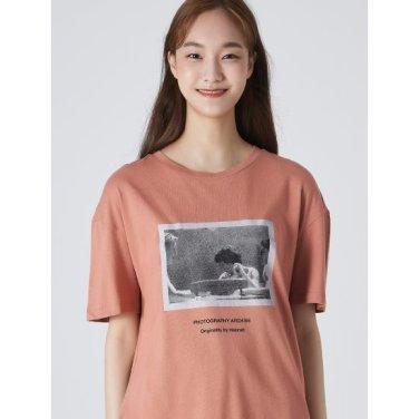여성 핑크 베이직 포인트 프린팅 반소매 티셔츠 (329742LYWX)