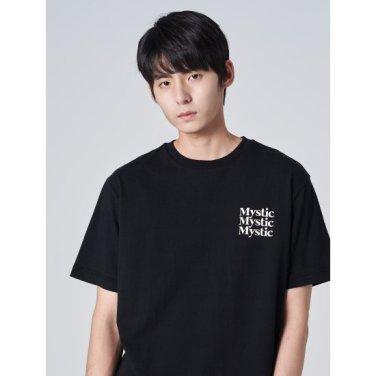 남성 블랙 코튼 레터링 프린팅 티셔츠 (429742DY35)