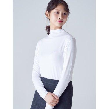 여성 화이트 소프트 모달 솔리드 하프넥 티셔츠 (328941CY21)