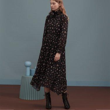블랙 리본 프린트 롱 드레스