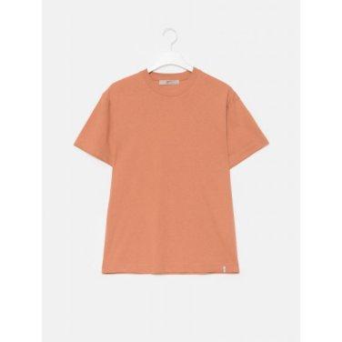 남성 오렌지 솔리드 베이직 코튼 스탠다드 반소매 라운드넥 티셔츠 (429742LY1