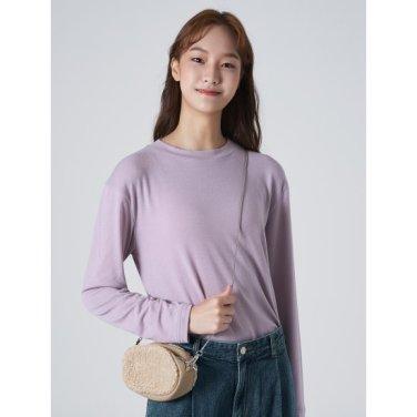 여성 라벤더 솔리드 베이직 포인트 슬릿 티셔츠 (169841JY1T)