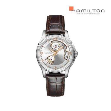 H32565555 재즈마스터 오픈하트 40mm 실버 브라운 가죽 남성 시계