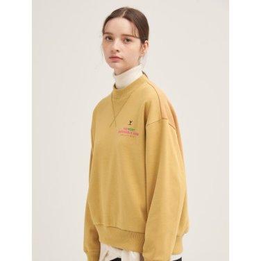 [GREEN BEANPOLE] 베이지 레터링 하프넥 기모 스웨트 셔츠 (BF9X41N03A)