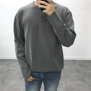 남성 데일리 피그먼트 워싱 박스핏 긴팔 티셔츠_T0430