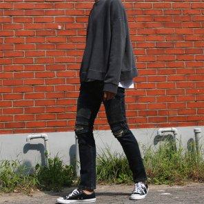 남성 디스트로이드 바이커 슬림핏 청바지_P0509