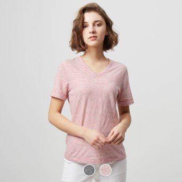 여 브이넥 반팔 티셔츠(스트라이프) 329523P