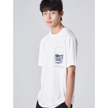 남성 화이트 그래픽 프린팅 반소매 티셔츠 (269742EY11)