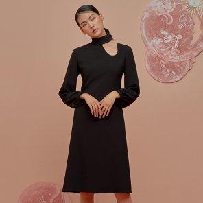 Fake Collar Dress-Black