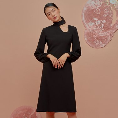 Fake Collar Dress-Black
