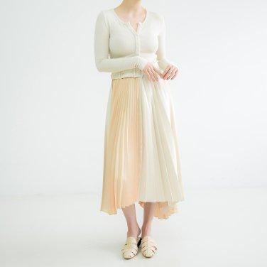 Unbalance Belted Pleats Skirt Cream(BSSK320_03)
