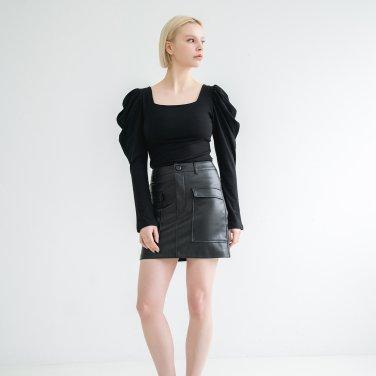Puff shoulder Square neck Tshirts Black(BSTS320_07)