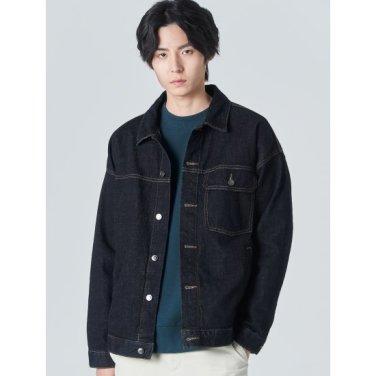 남성 네이비 데님 포켓 트러커 재킷 (420139LP2R)