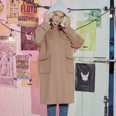 (CT-706) SOLID DUFFLE COAT BEIGE