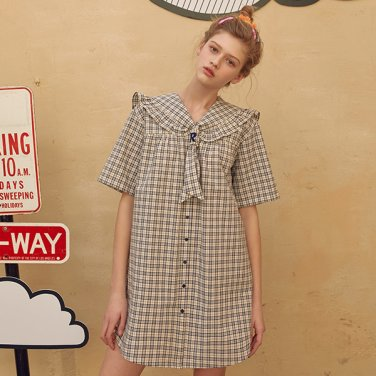 (OP-19312) SAILOR RIBBON CHECK ONE-PIECE NAVY
