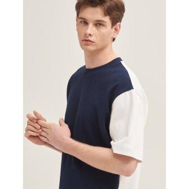 네이비 와플 배색 오버사이즈 티셔츠 (BC9342A31R)