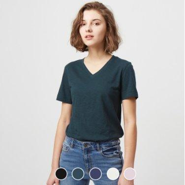 지오다노 여 브이넥 반팔 티셔츠 329523
